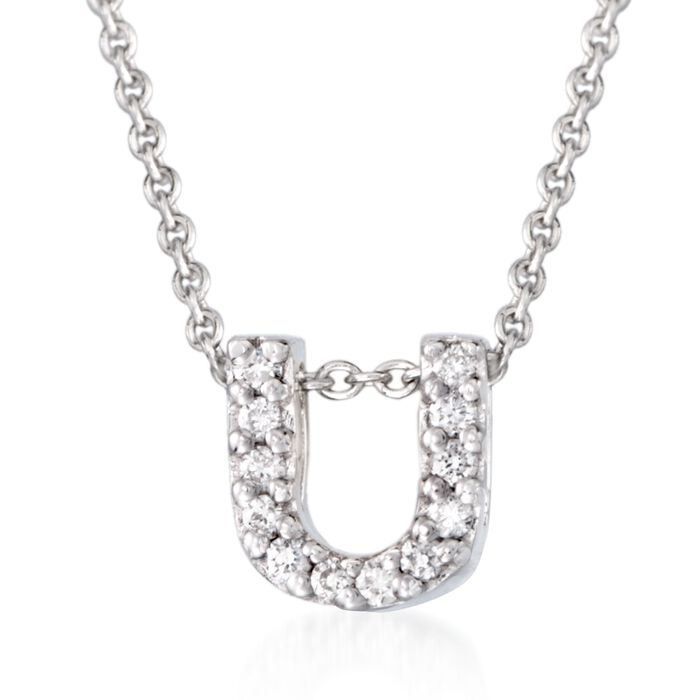 """Roberto Coin """"Love Letter"""" Diamond Accent Initial """"U"""" Necklace in 18kt White Gold"""
