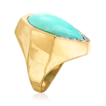C. 1980 Vintage Reconstituted Turquoise and Diamond Ring in 18kt Yellow Gold. Size 7.75, , default