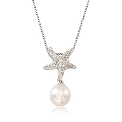 8-9mm Cultured Pearl and Sterling Silver Starfish Pendant Necklace with White Topaz Accents