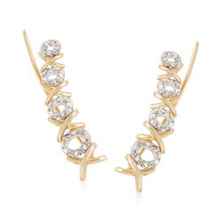 .10 ct. t.w. Diamond XO Ear Crawlers in 14kt Yellow Gold, , default