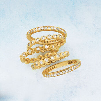 2.50 ct. t.w. CZ Jewelry Set: Five Eternity Bands in 14kt Gold Over Sterling, , default