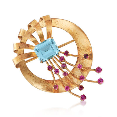 C. 1940 Vintage Tiffany Jewelry 5.80 Carat Aquamarine and 1.80 ct. t.w. Ruby Circle Pin in 14kt Yellow Gold, , default