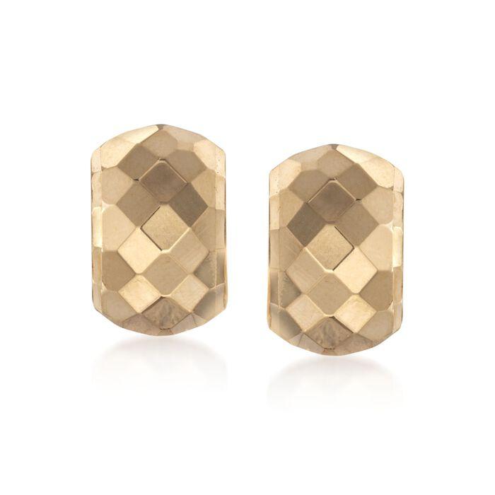 14kt Yellow Gold Diamond-Cut Half-Hoop Earrings
