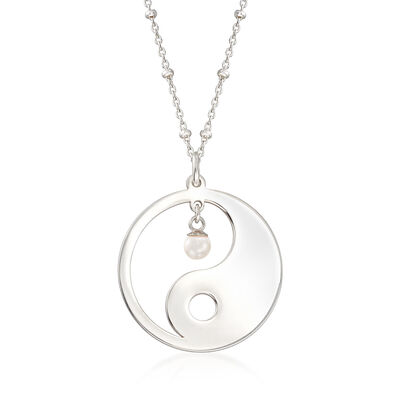 Sterling Silver Yin-Yang Necklace with 4mm Cultured Pearl, , default