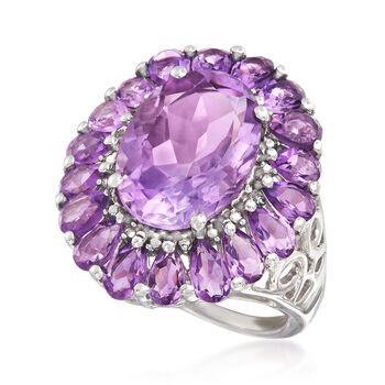 8.50 ct. t.w. Amethyst Frame Ring in Sterling Silver, , default