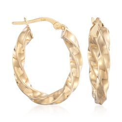 14kt Yellow Gold Fancy Hoop Earrings, , default