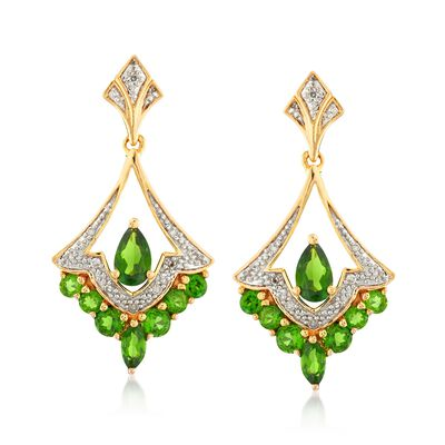 .90 ct. t.w. Chrome Diopside Drop Earrings with Diamond Accents in 18kt Gold Over Sterling, , default