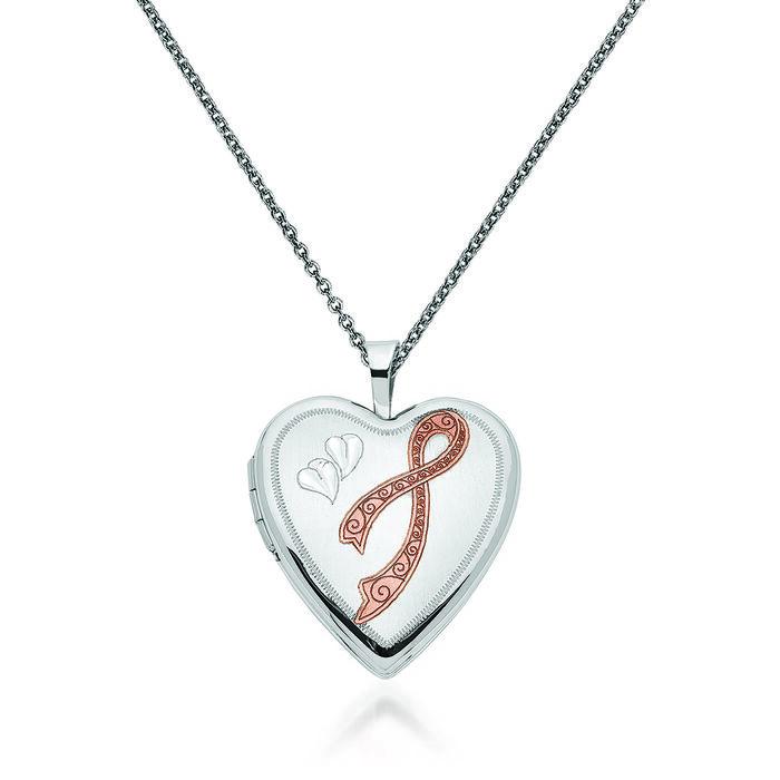 "14kt White Gold Breast Cancer Awareness Heart Locket Necklace with Pink Enamel. 18"", , default"