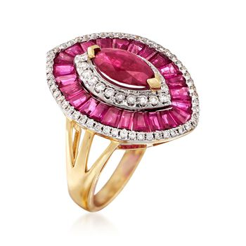 3.50 ct. t.w. Ruby and .36 ct. t.w. Diamond Ring in 18kt Yellow Gold