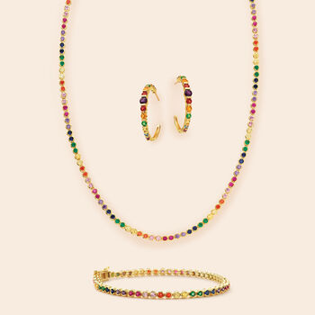 3.20 ct. t.w. Multicolored CZ Necklace in 18kt Yellow Gold Over Sterling Silver, , default
