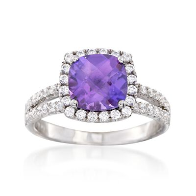2.90 Carat Amethyst and .55 ct. t.w. CZ Split-Shank Ring in Sterling Silver, , default