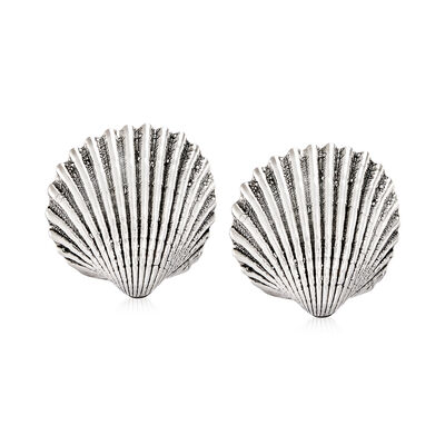 Sterling Silver Seashell Earrings, , default