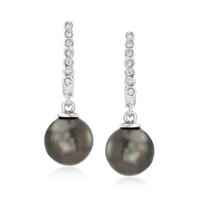 8-9mm Black Cultured Tahitian Pearl Drop Earrings with Diamond Accents in 14kt White Gold