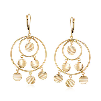 14kt Yellow Gold Open Multi-Circle Disc Drop Earrings, , default