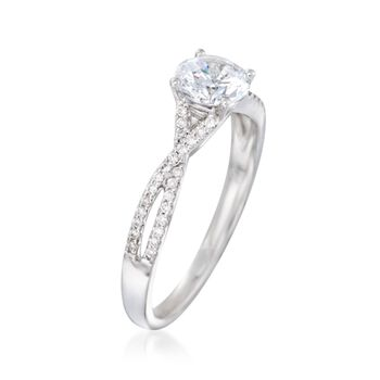 .14 ct. t.w. Diamond Twisted Engagement Ring Setting in 14kt White Gold. Size 6.5