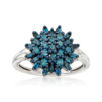 .75 ct. t.w. Blue Diamond Cluster Ring in Sterling Silver