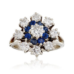 C. 1970 Vintage 1.40 ct. t.w. Diamond and .65 ct. t.w. Sapphire Cluster Ring in 14kt White Gold, , default