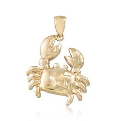 14kt Yellow Gold Crab Pendant, , default