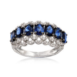 2.80 ct. t.w. Sapphire and .47 ct. t.w. Diamond Ring in 18kt White Gold, , default