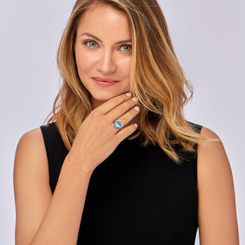 "Andrea Candela ""Fleur De Lis"" 5.83 Carat Swiss Blue Topaz Ring in Sterling Silver. Size 7"