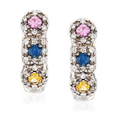 C. 1990 Vintage .60 ct. t.w. Multicolored Sapphire and .35 ct. t.w. Diamond Earrings in 14kt White Gold, , default