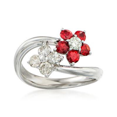 C. 1990 Vintage .68 ct. t.w. Orange Sapphire and .55 ct. t.w. Diamond Flower Bypass Ring in Platinum, , default
