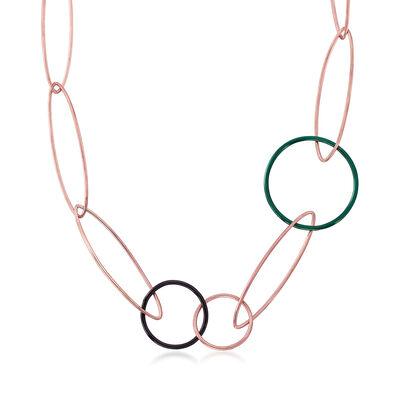 C. 2000 Vintage Nouvelle Bague 14kt Rose Gold Over Sterling Necklace with Enamel, , default