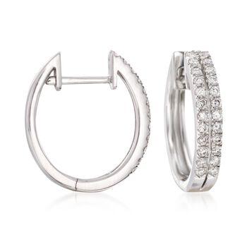 """.50 ct. t.w. Diamond Two-Row Hoop Earrings in 14kt White Gold. 1/2"""", , default"""