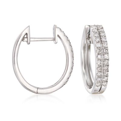 .50 ct. t.w. Diamond Two-Row Hoop Earrings in 14kt White Gold, , default