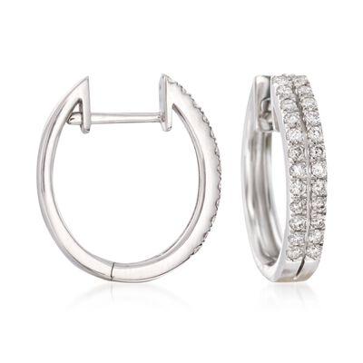 .50 ct. t.w. Diamond Two-Row Hoop Earrings in 14kt White Gold, , default