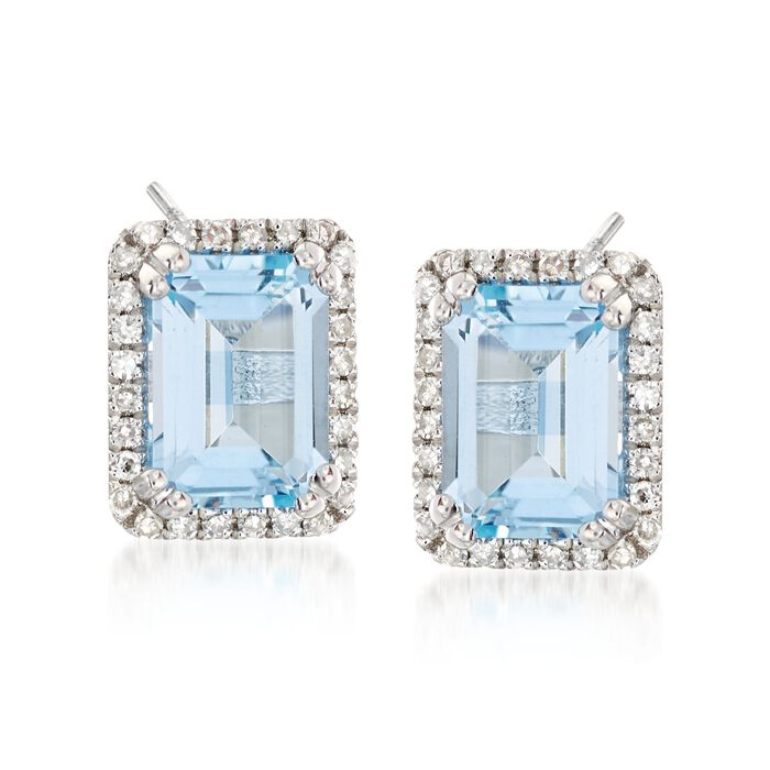 2.50 ct. t.w. Blue Topaz and .18 ct. t.w. Diamond Frame Earrings in 14kt White Gold