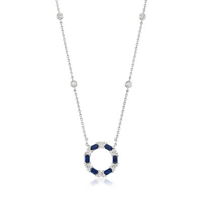 Gregg Ruth .72 ct. t.w. Sapphire and .44 ct. t.w. Diamond Circle Pendant Necklace in 18kt White Gold, , default