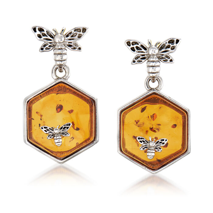 Amber Honeycomb and Bumblebee Drop Earrings in Sterling Silver