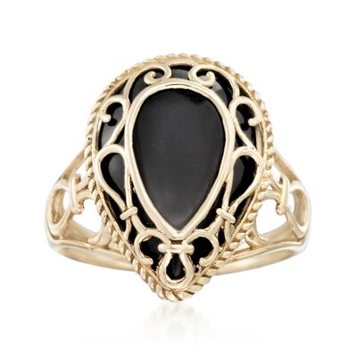Black Onyx Openwork Overlay Ring in 14kt Yellow Gold, , default