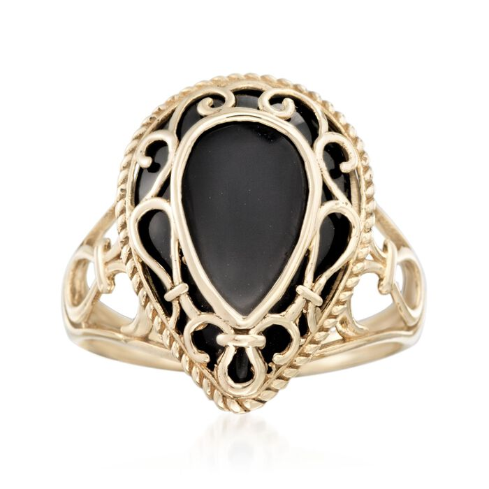 Black Onyx Openwork Overlay Ring in 14kt Yellow Gold
