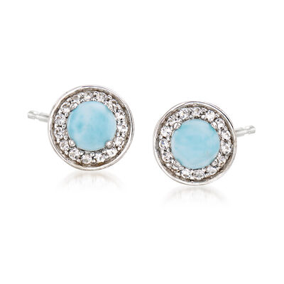 Larimar and .20 ct. t.w. White Topaz Earrings in Sterling Silver