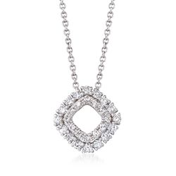 ".26 ct. t.w. Diamond Open Double Frame Pendant Necklace in 14kt White Gold. 18"", , default"