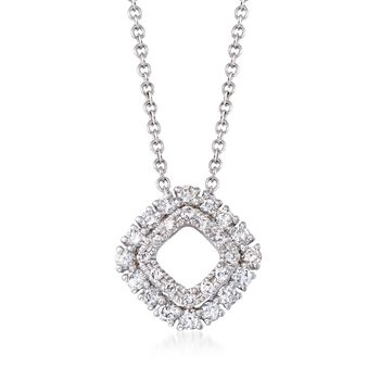 """.26 ct. t.w. Diamond Open Double Frame Pendant Necklace in 14kt White Gold. 18"""", , default"""