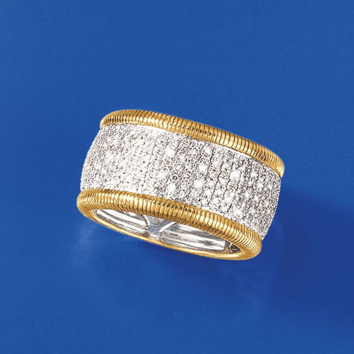 .42 ct. t.w. Pave Diamond Eternity Band in 14kt Gold Over Sterling