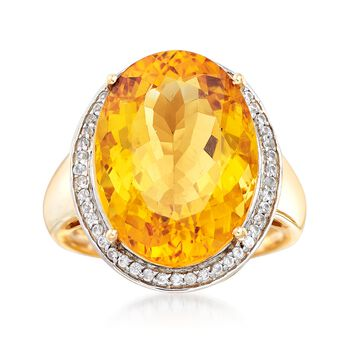 12.00 Carat Yellow Beryl and .20 ct. t.w. White Zircon Ring in 14kt Yellow Gold, , default