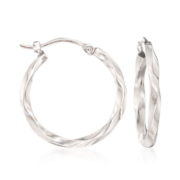 "14kt White Gold Twist-Motif Hoop Earrings. 3/4"", , default"