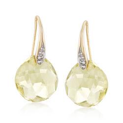 10.00 ct. t.w. Lemon Quartz Drop Earrings With Diamond Accents in 14kt Yellow Gold, , default