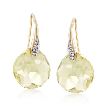 10.00 ct. t.w. Lemon Quartz Drop Earrings With Diamond Accents in 14kt Yellow Gold , , default