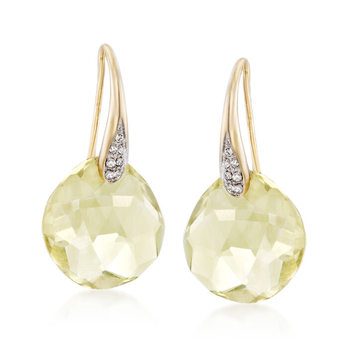 10.00 ct. t.w. Lemon Quartz Drop Earrings with Diamond Accents in 14kt Yellow Gold , , default