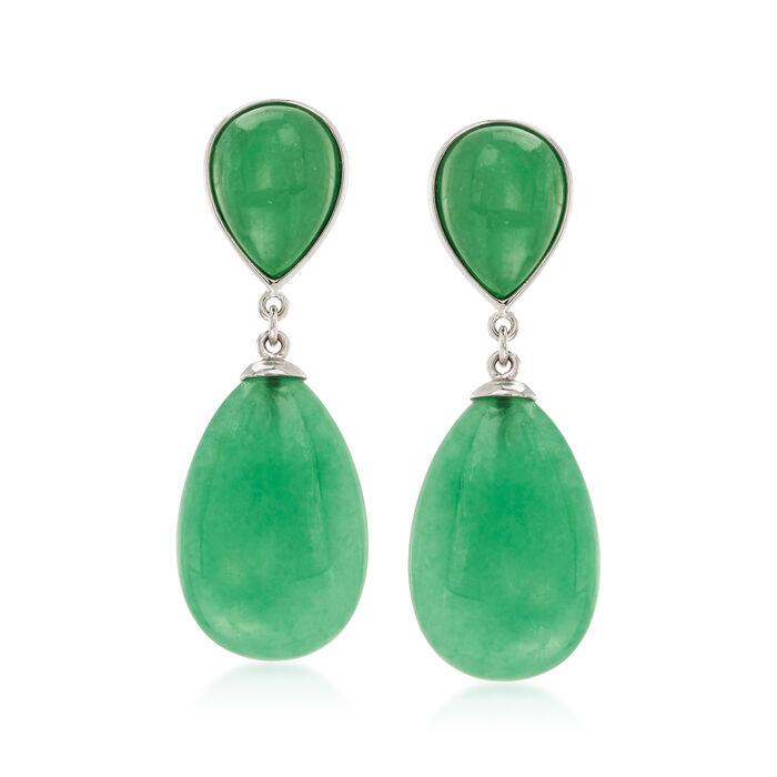 Pear-Shaped Green Jade Drop Earrings in Sterling Silver, , default