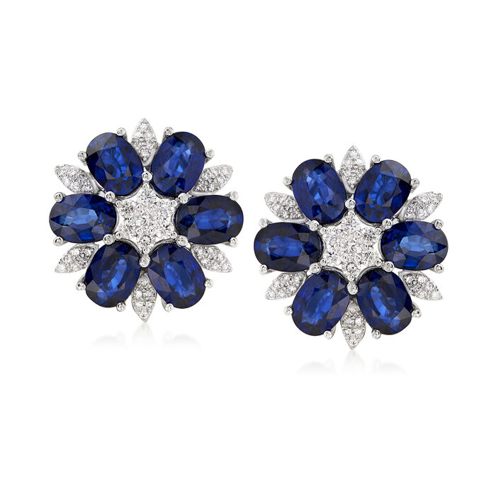 12.00 ct. t.w. Sapphire and .80 ct. t.w. Diamond Floral Earrings, , default