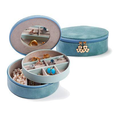 Dusty Aqua Faux Vegan Snakeskin Perfect Travel Jewelry Disc, , default