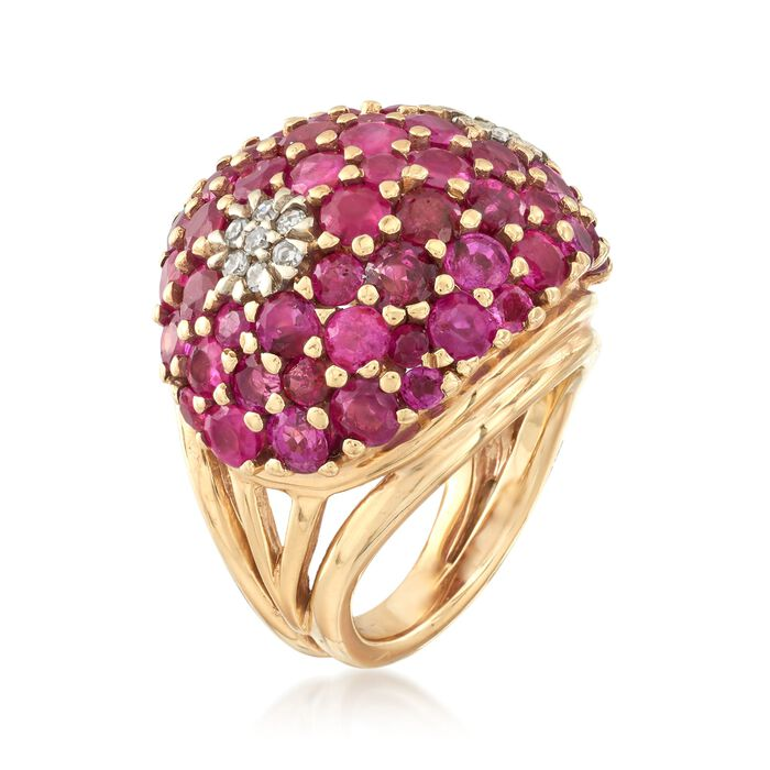 C. 1960 Vintage 6.00 ct. t.w. Ruby and .30 ct. t.w. Diamond Ring in 14kt Yellow Gold