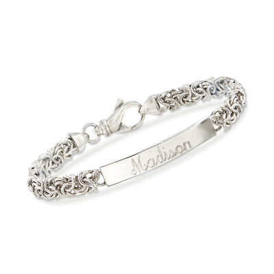 Italian Sterling Silver Byzantine Name Bar ID Bracelet, , default