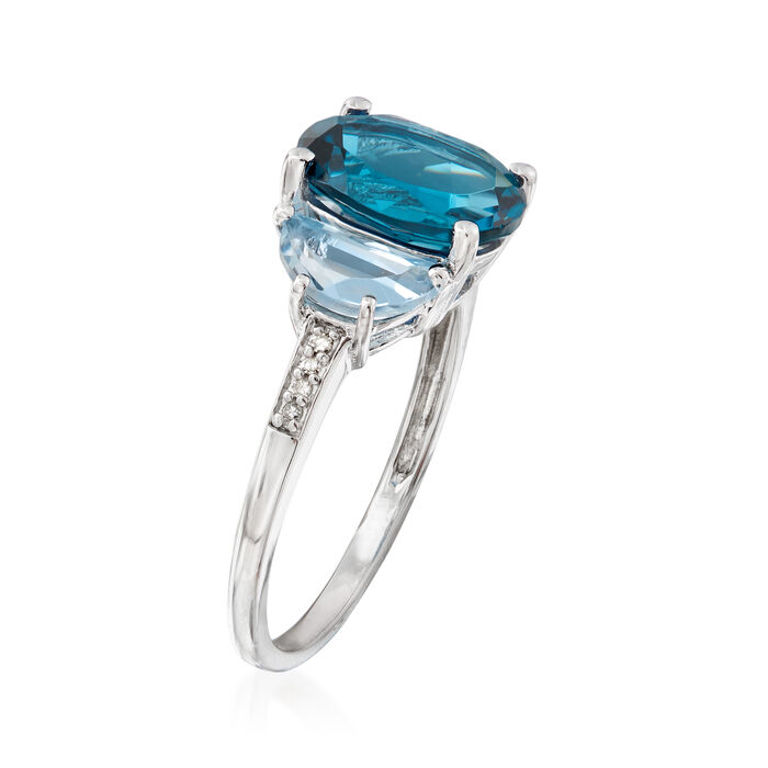 4.50 ct. t.w. London and Sky Blue Topaz Ring with Diamond Accents in Sterling Silver